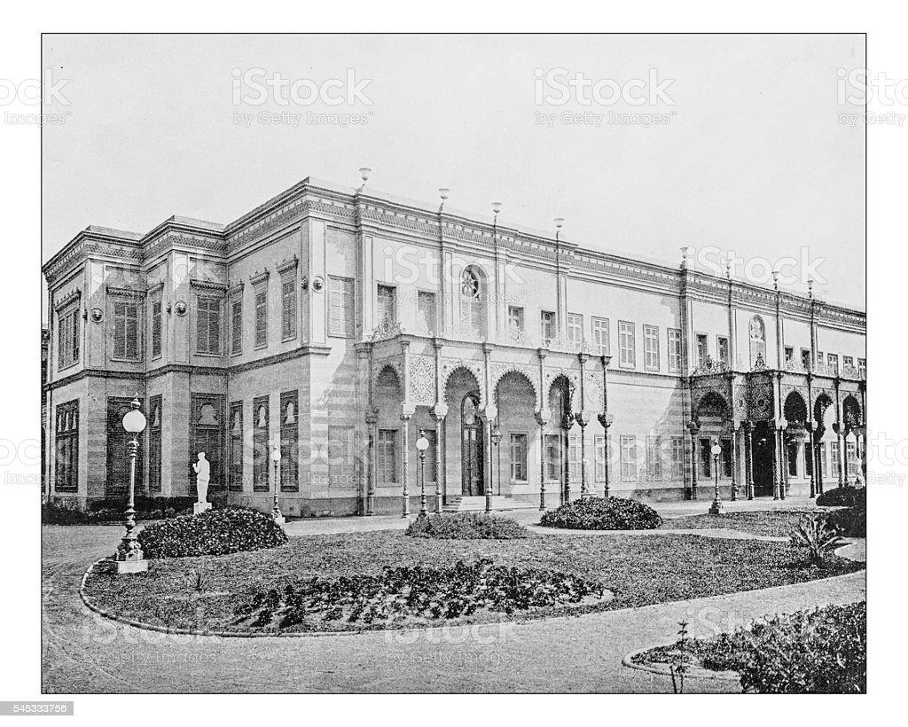 Antique photograph of the Gezirah Palace (Cairo, Egypt)-19th century stock photo