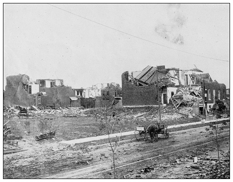 Antique photograph of the Great Cyclone at St Louis, May 27, 1896