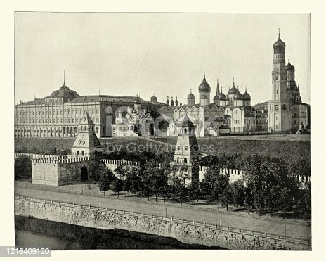 Antique photograph of the Kremlin, Moscow, Russia, 19th Century