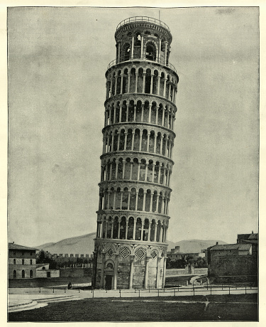 Antique photograph of the Leaning Tower of Pisa, Italy, 19th Century