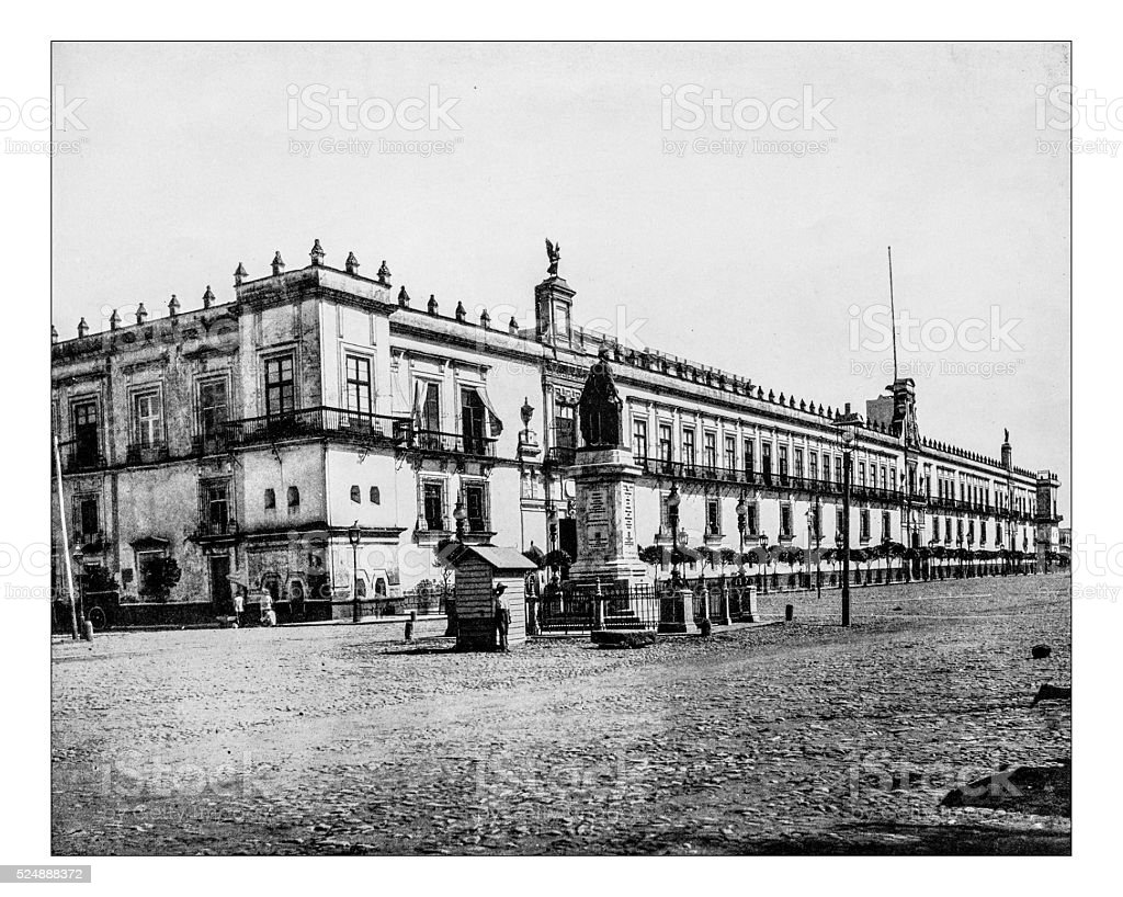 Antique photograph of the National Palace of Mexico City (Mexico) stock photo