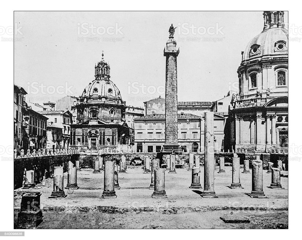 Antique photograph of the Trajan's Forum in Rome (Italy)-19th century stock photo