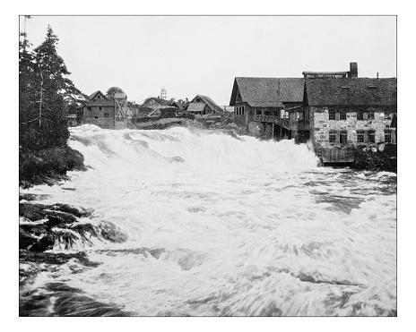 Antique photograph of Trollhättan Falls, Sweden