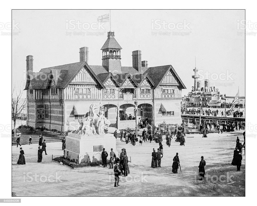 Antique photograph of Victoria House at Workd's Columbian Exposition-Chicago 1893 stock photo