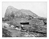 アンティークの写しの眺めジブラルタルの岩山(19 世紀)