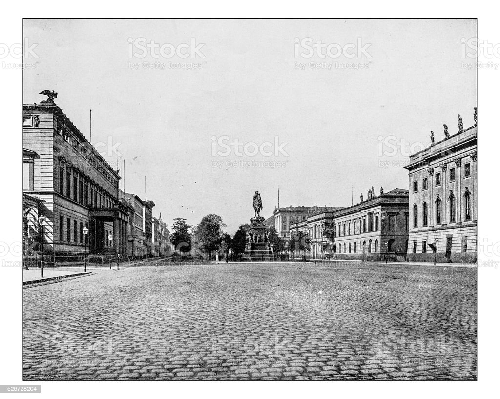 Antique photograph of view of Unter den Linden (Berlin, Germany) stock photo