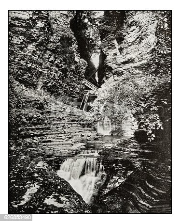Antique photograph of Watkins Glen State Park Rainbow Bridge and Falls