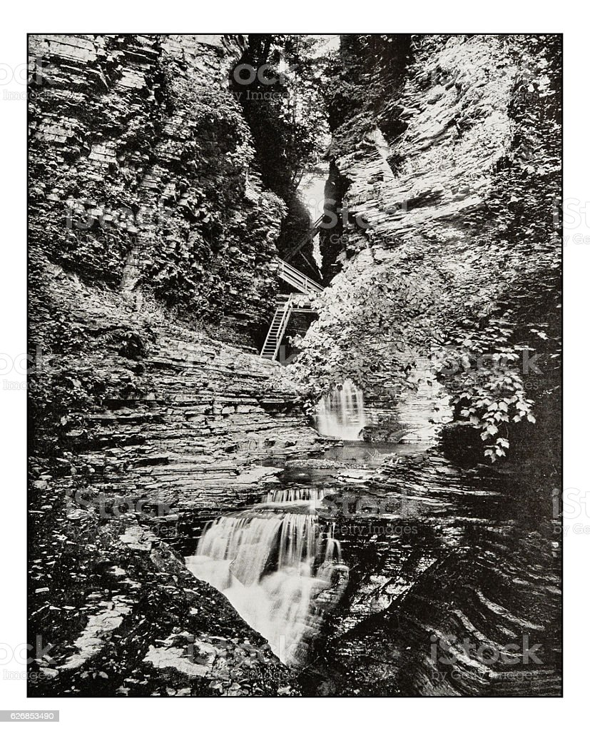 Antique photograph of Watkins Glen State Park stock photo