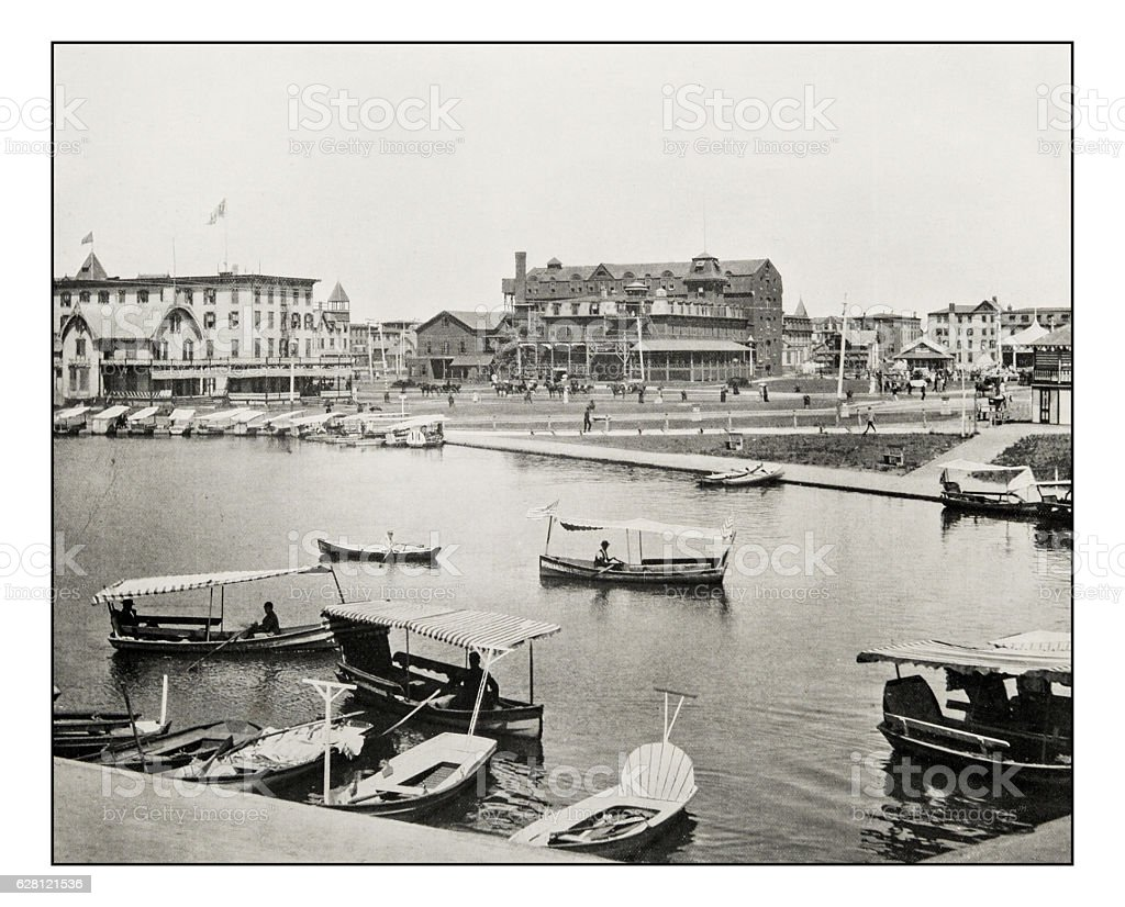 Antique photograph of Wesley lake, New Jersey stock photo