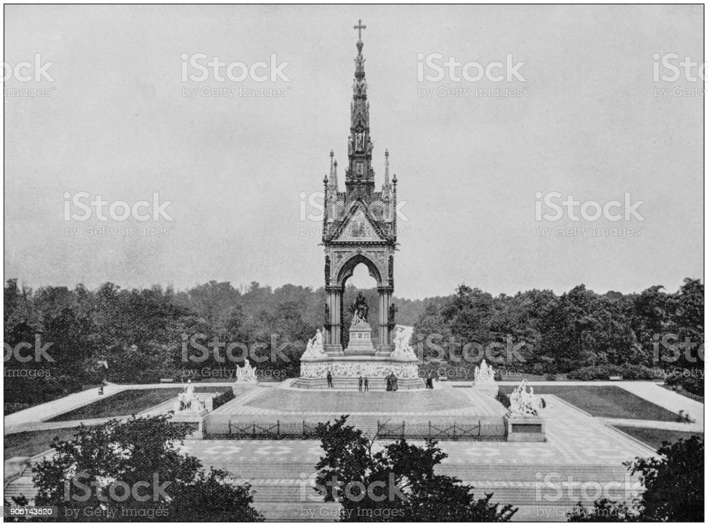 Antique photograph of World's famous sites: Albert Memorial, London, England stock photo