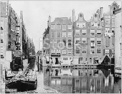Antique photograph of World's famous sites: Amsterdam