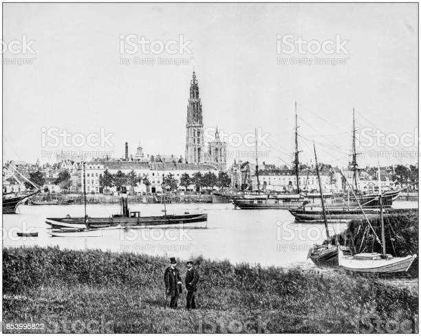 Antique photograph of World's famous sites: Antwerp, Belgium