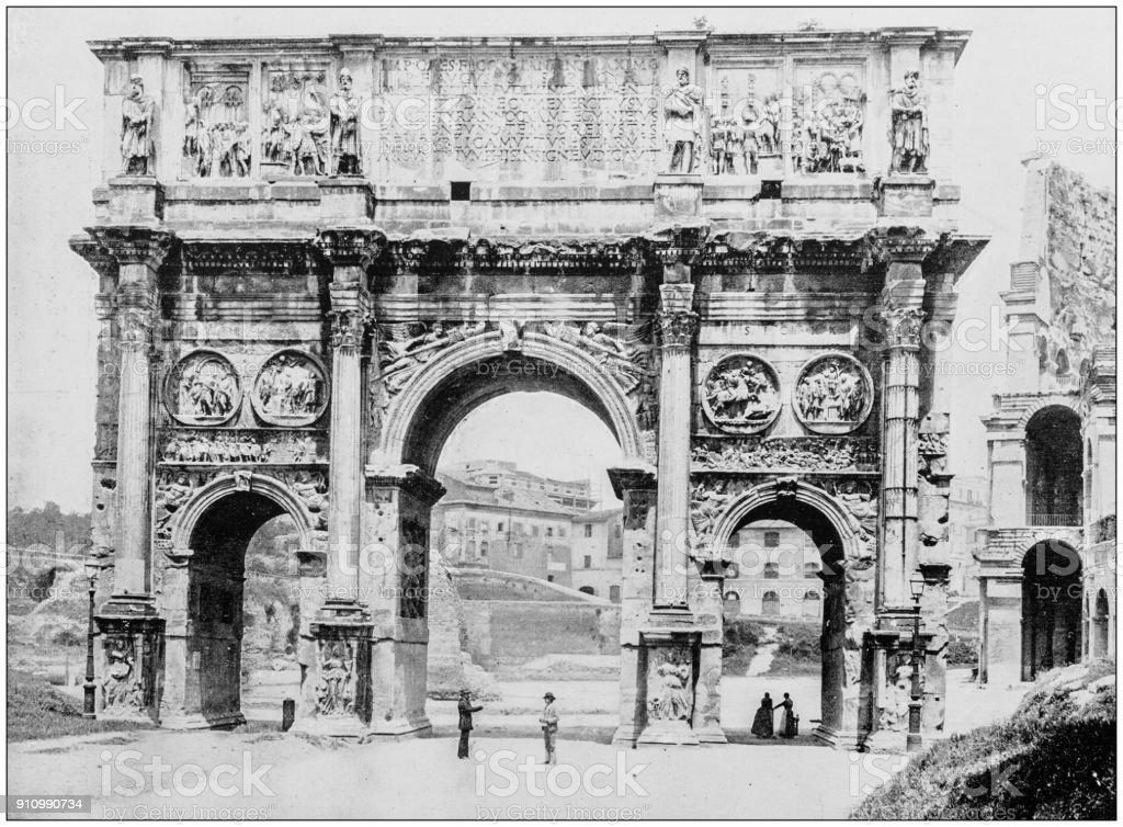 Fotografia antiga de locais famosos do mundo: arco de Constantino, Roma, Itália - foto de acervo