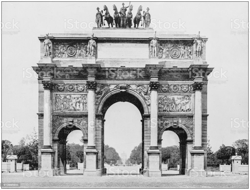 Antique photograph of World's famous sites: Arch of Triumph, Place du Carrousel, Paris, France stock photo