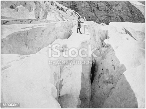 Antique photograph of World's famous sites: Asulkan Glacier, Hermit range