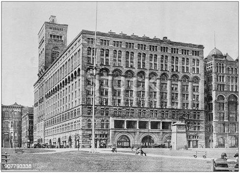 Antique photograph of World's famous sites: Auditorium, Chicago