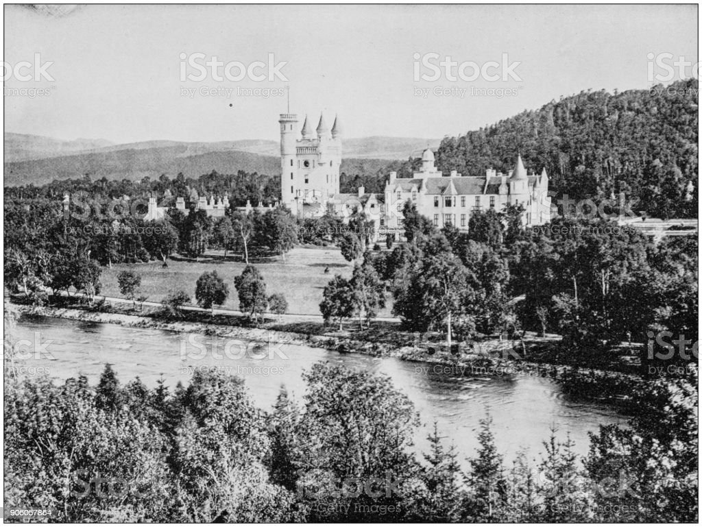 Antique photograph of World's famous sites: Balmoral Castle, Scotland stock photo