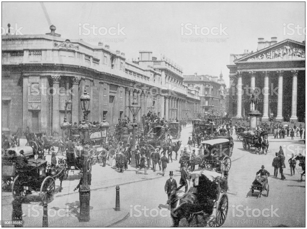 Antique photograph of World's famous sites: Bank of England, London, England stock photo
