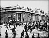 Antique photograph of World's famous sites: Bank of England, London, England, Uk