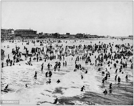 Antique photograph of World's famous sites: Beach in Atlantic City, New Jersey, US