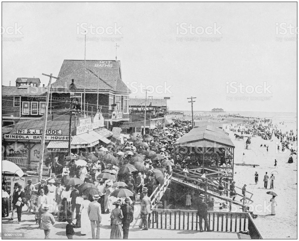 Antique photograph of World's famous sites: Board walk, Atlantic City, New Jersey stock photo