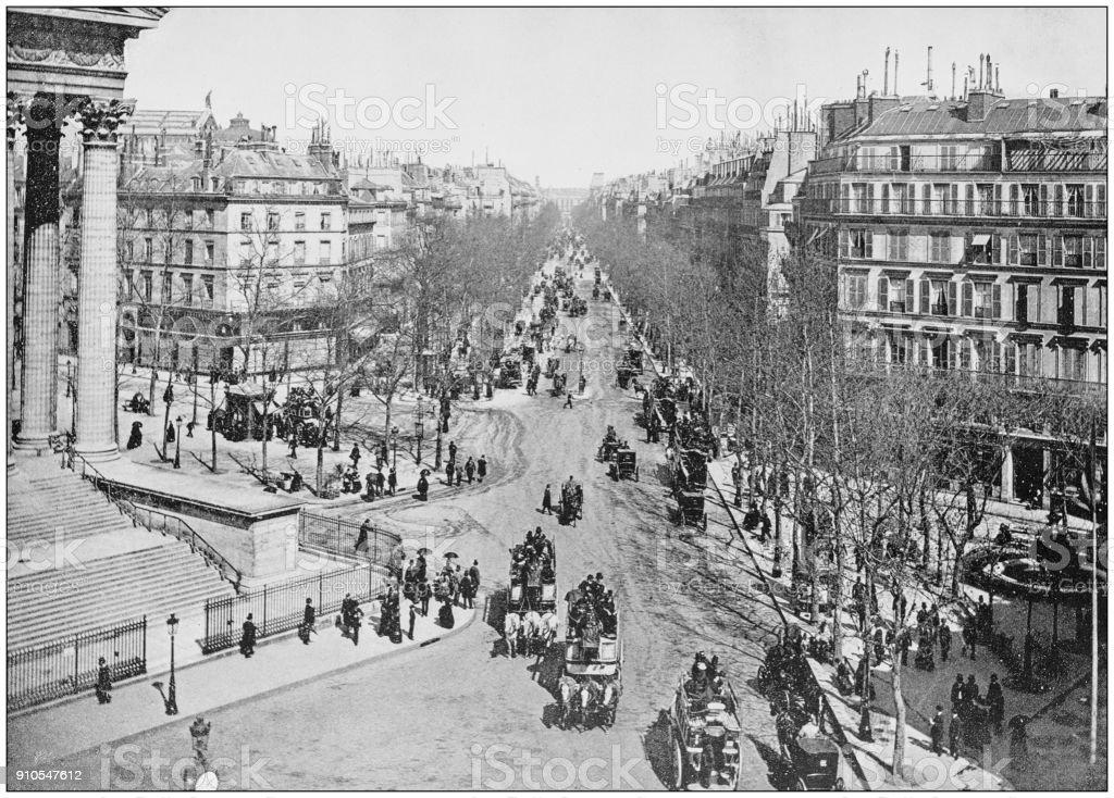 Antique photograph of World's famous sites: Boulevard de la Madeleine, Paris, France stock photo