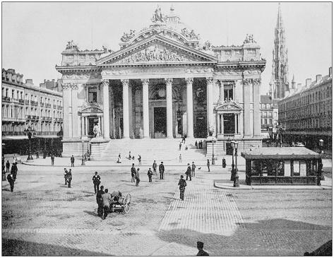 Antique photograph of World's famous sites: Bourse, Brussels, Belgium