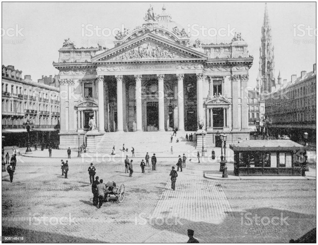Antique photo des sites célèbres du monde: Bourse, Bruxelles, Belgique - Photo