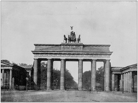 Antique photograph of World's famous sites: Brandeburg gate, Berlin, Germany