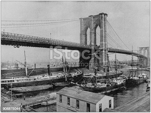 Antique photograph of World's famous sites: Brooklyn Bridge, New York