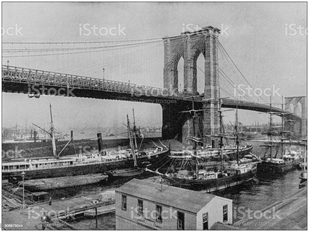 Antique photograph of World's famous sites: Brooklyn Bridge, New York stock photo