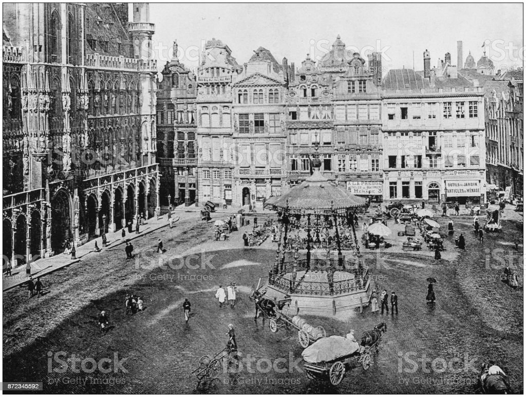 Antique photograph of World's famous sites: Brussels stock photo