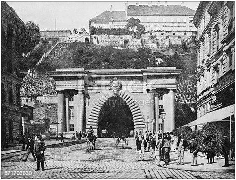 Antique photograph of World's famous sites: Budapest