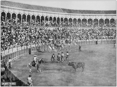 Antique photograph of World's famous sites: Bull fight, Seville, Spain