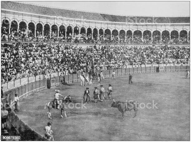 Antique photograph of worlds famous sites bull fight seville spain picture id906679360?b=1&k=6&m=906679360&s=612x612&h=ltgy7oxgnzkqu1fvt0unjbrsnyled41vvofaqornulw=