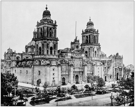 Antique photograph of World's famous sites: Cathedral, Mexico City, Mexico