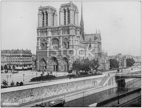 Antique photograph of World's famous sites: Cathedral of Notre Dame, Paris, France