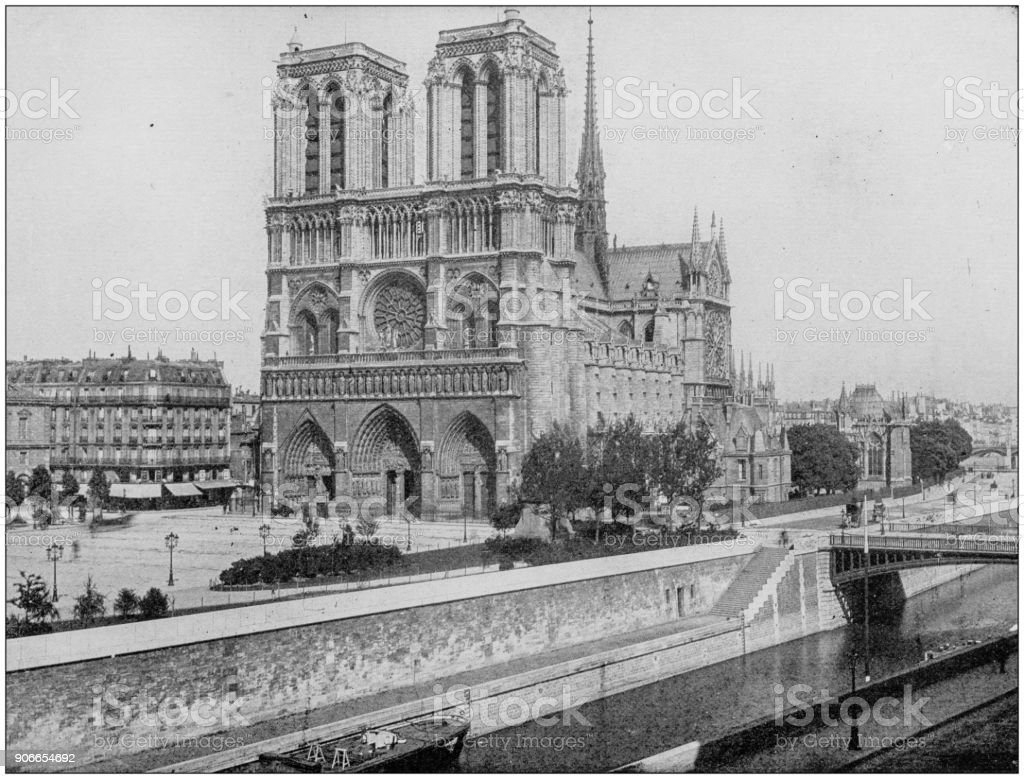 Antique photograph of World's famous sites: Cathedral of Notre Dame, Paris, France stock photo
