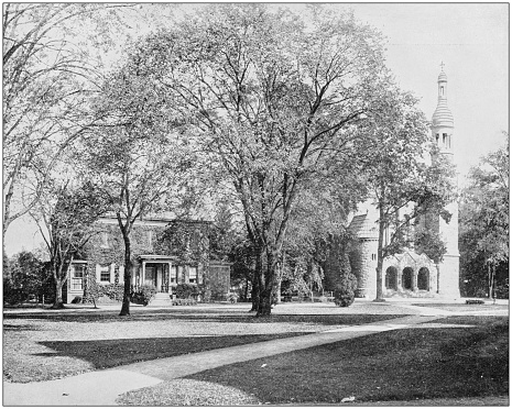 Antique photograph of World's famous sites: Chapel and Priest House, Princeton College, New Jersey