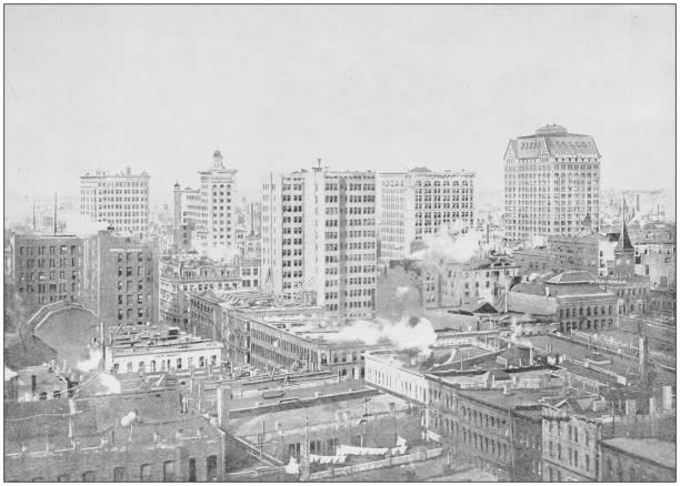 Antique photograph of World's famous sites: Chicago, Illinois, USA Antique photograph of World's famous sites: Chicago, Illinois, USA 1900 stock pictures, royalty-free photos & images