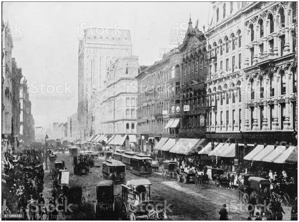 Antique photograph of World's famous sites: Chicago stock photo