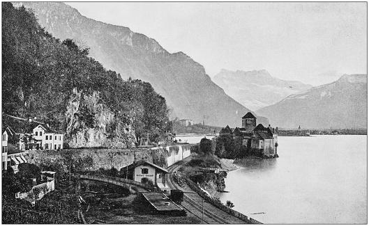 Antique photograph of World's famous sites: Chillon