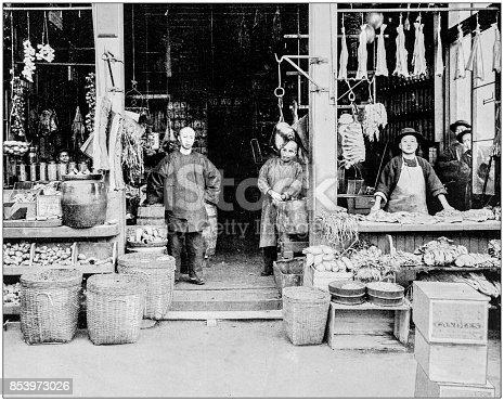 Antique photograph of World's famous sites: Chinatown, San Francisco, US