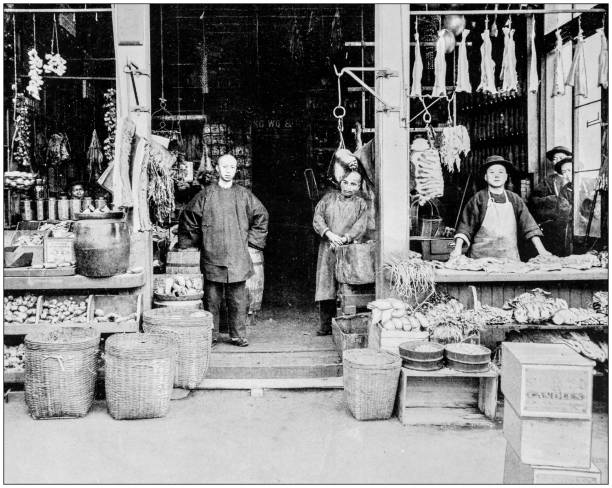 Antique photograph of World's famous sites: Chinatown, San Francisco, US Antique photograph of World's famous sites: Chinatown, San Francisco, US 20th century history stock pictures, royalty-free photos & images