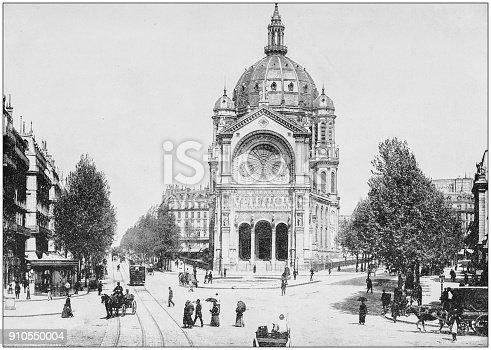 Antique photograph of World's famous sites: Church of St Augustine, Paris, France