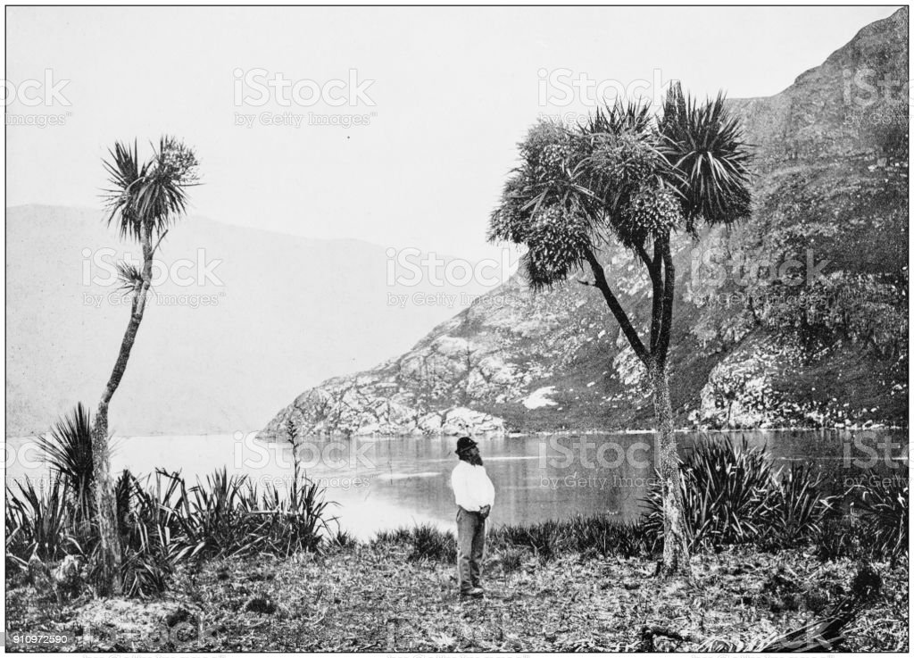 Antique photograph of World's famous sites: Clutha river, Hector Mountains, New Zealand stock photo