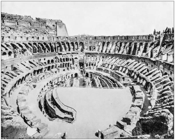 antique photograph of world's famous sites: coliseum, rome, italy - colosseo 1900 foto e immagini stock