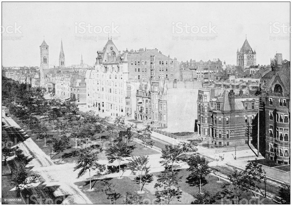 Antique photograph of World's famous sites: Commonwealth Avenue, Boston stock photo