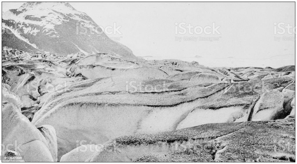 Antique photograph of World's famous sites: Crevasse in Muir Glacier, Alaska stock photo