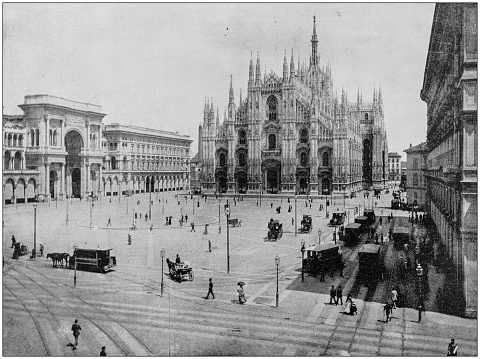 Antique photograph of World's famous sites: Duomo of Milan, Italy